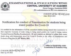 Central University of Kashmir Exam Notification.