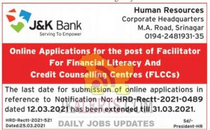 JK Bank Jobs Recruitment 2021 Facilitator Posts Last Date extended.