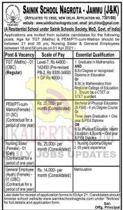 Sainik School Nagrota Jobs Recruitment 2021.