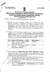 2 Areas in Jammu declared as micro Containment zones.