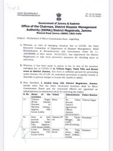 Three New Micro Containment Zones declared by DM Jammu.