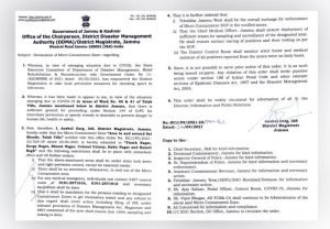 New Areas declared as micro containment zones by DM Jammu.