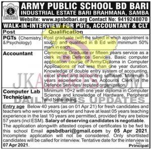 APS BD Bari Jobs Recruitment 2021.