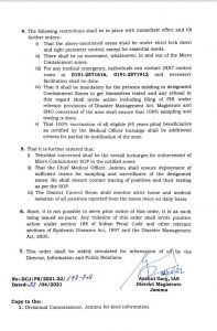 Five more micro containment zones declared by District Magistrate Jammu