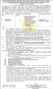 GMC Anantnag Jobs Recruitment 2021