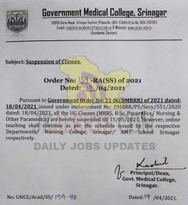 GMC Srinagar Suspended Classes.