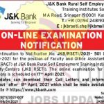 JK Bank Exam notification, Faculty, Office Assistant posts.