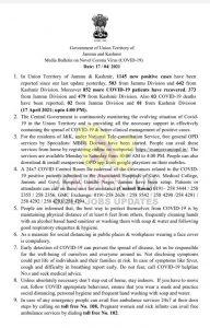 J&K District Wise COVID 19 update 17 April 2021.