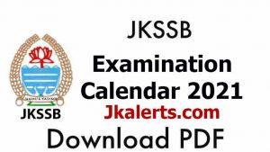 JKSSB Examination Calendar/Schedule 2021.