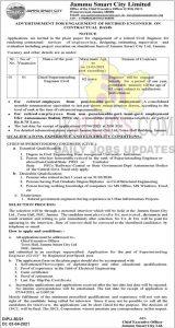Jammu Smart City Jobs Recruitment 2021.