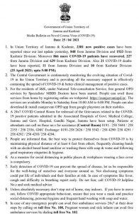 JK District wise COVID 19 update 25 April 2021.