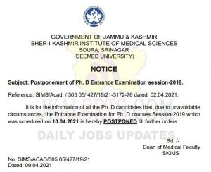 SKIMS postponed Entrance Exam for Ph. D.