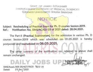 SKIMS Re-Schedule Ph.D. Practical Exam.
