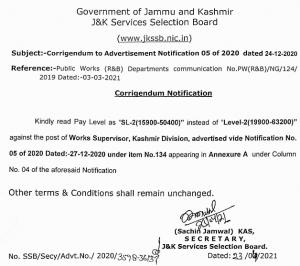 JKSSB Corrigendum to Adv Notification 05 of 2020.