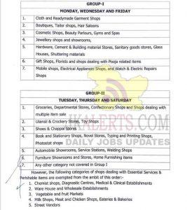 Jammu District shops opening Schedule.