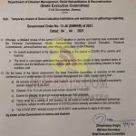 J&K Govt order for Temporary closure of School education institutions.
