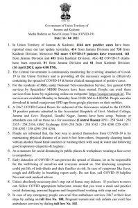 JK District Wise COVID 19 Update 16 April 2021.