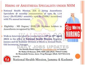 JKNHM jobs recruitment 2021.