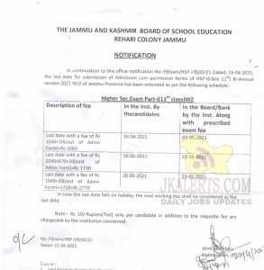 JKBOSE Extended Class 11th admission 2021.