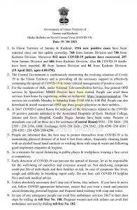 JK District wise COVID update 19 April 2021.