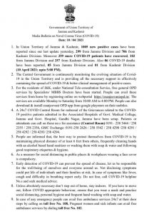 J&K District Wise COVID 19 update 1005 cases reported.