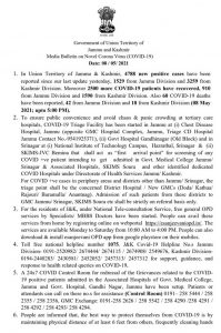 J&K Today COVID 19 Update 4788 New COVID-19 Cases.