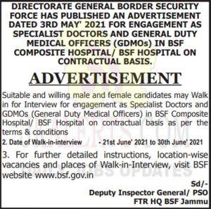 BSF Hospital Jammu Jobs recruitment 2021.