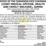 Health and Family Welfare Jammu interview schedule. CMO Health and Family Welfare Jammu interview schedule IYCF /Nutritional Counselor Posts.