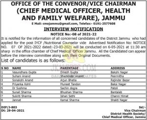 Health and Family Welfare Jammu interview schedule.