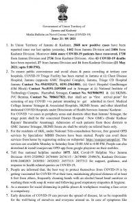 JK COVID 19 update 21 May 2021.