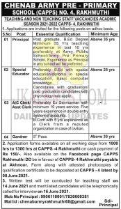 Chenab Army Pre Primary School Jammu Jobs 2021.