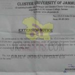 Cluster University of Jammu extended last date of receipt of application
