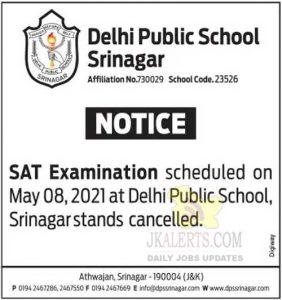 DPS Srinagar Cancelled SAT Examination.