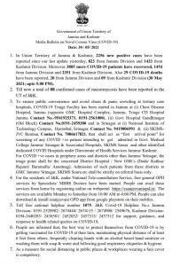 JK COVID 19 Update 31 May 2021.