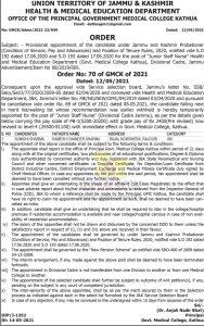 GMC Kathua Provisional appointment of  Junior Staff Nurse.