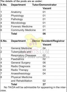 GMC Kathua jobs recruitment 2021 SR and Demonstrator posts Walk in interview on 31st May 2021.