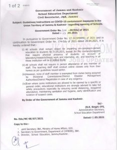 J&K School Education department issues Guidelines.