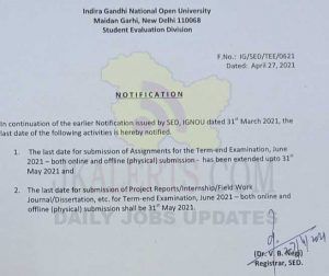 IGNOU Extension Last date for submission of Assignments.