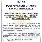 J&K Army Recruitment rally postponed.