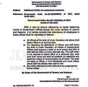 J&K Govt Orderd 50% Staff shall attend Offices.