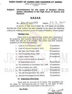 J&K High Court Selection Criteria for Reader posts.