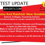 J&K New Guidelines / Instructions w.e.f. 31st May 2021.
