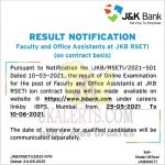 JK Bank Result of Faculty, Office Assistants at JKB RSETI. J&K Bank Announced Result of Faculty and Office Assistants at JKB RSETI (on contract basis).