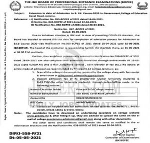 JK BOPEE Extension in date of Admission to B. Ed.