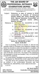 JKBOPEE Extended in date of joining to B.Ed course.