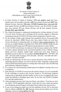 JK District Wise COVID19 Update 03 May 2021.