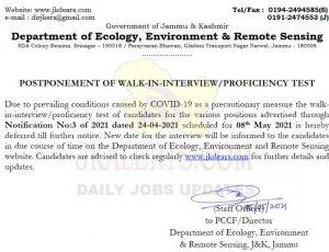 JKDEARS Postponed Walk in interview.