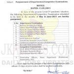 JKPSC Postponement of Departmental/Competitive Exams scheduled in May & June-2021. Jammu and Kashmir Public Service Comission JKPSC postponed notification