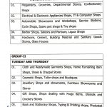 Jammu roaster and timings for the opening of shops.