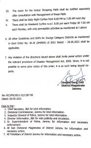 Jammu roaster and timings for the opening of shops